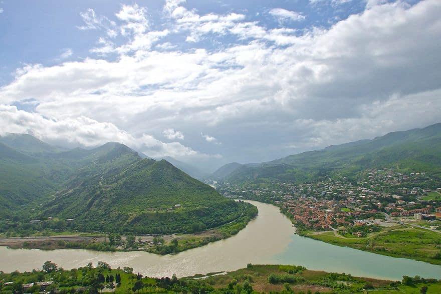 Город Мцхета, слияние рек Кура и Арагва