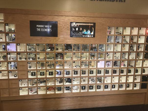 Периодическая таблица на стене с фотографиями образцов